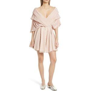 CAROLINE CONSTAS Orange Marcella Striped Dress